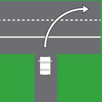 For the sake of the test, they mostly want you to turn to the outermost lane